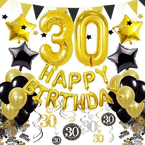 30th Birthday Balloons and Decorations Set, Black and Gold