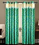 GREEN FLOWER Door curtains setof 2 pc