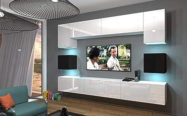 Home Direct NOWARA N1 Modernes Wohnzimmer Wohnwände Wohnschränke  Schrankwand Schwarz Weiß Hochglänzend AN1 17WB