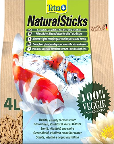 Tetra Natural Sticks pflanzliches Hauptfutter (für alle Gartenteichfische, aus natürlichen Inhaltsstoffen), 4 Liter Beutel
