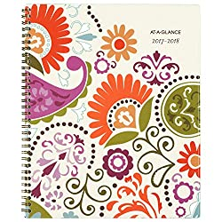 """AT-A-GLANCE Academic Weekly/Monthly Planner, July 2017 - June 2018, 8-1/2"""" x 11"""", Garden Party (150-905A)"""