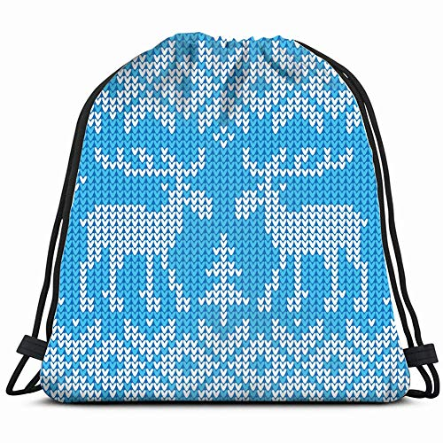 khgkhgfkgfk Christmas Ornament Sweater Deers Jumper Holidays Drawstring Backpack Gym Sack Lightweight Bag Water Resistant Gym Backpack for Women&Men for Sports,Travelling,Hiking,Camping,Shopping Yoga -