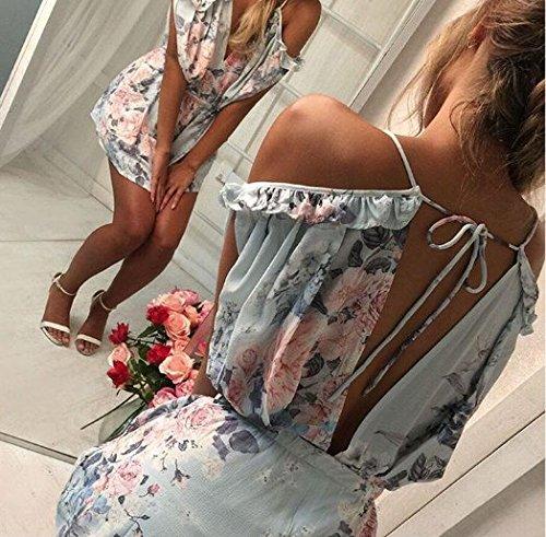 ASSKDAN Femme Sexy Combinaison Short Moussline de soie Imprimé Floral Lace à Bretelle Col V Backless Jumpsuit Bleu