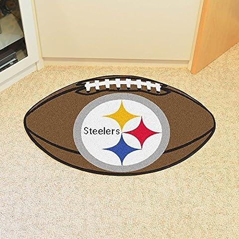 FANMAT 5828 Pittsburgh Steelers Football Shaped Mat, 22 x 33. by Fanmats