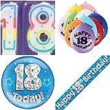 18. Geburtstag Party Set Jungen. Alter 18Boy Kit (Banner, Luftballons, Kerze, Badge)