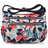ABLE Waterproof Shoulder Bag Casual Handbag Messenger bag Crossbody Bags Multi-functional pocket design: can plug flat, book, wallet, etc (2-Calla lily flower)