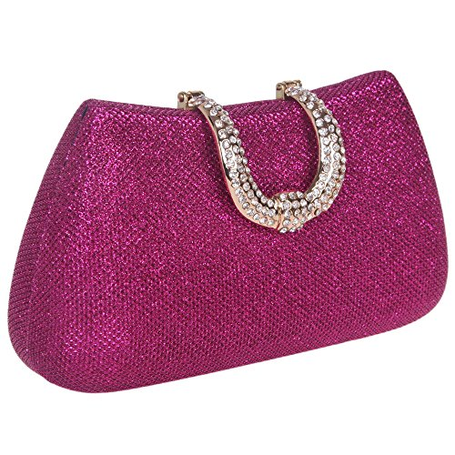 Bonjanvye Glitter Initials Hand Purses for Women Hard Case Evening Clutch Bag Purpe purple