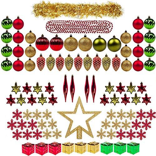 Decorazioni di albero di Natale 100ct Completo Set ITART Baubles Natale Ornamenti Ornamenti Assortiti Inclusi Topper, Fiocchi di neve, perline, Tinsel, Mini Boxes Gife, Pino Coni, Teardrop (Classic Re
