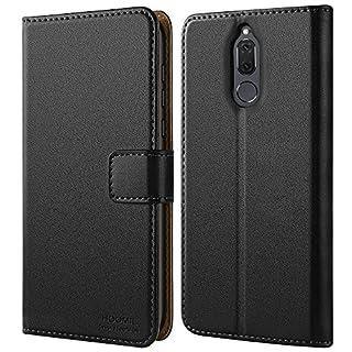 HOOMIL für Huawei Mate 10 Lite Hülle, Handyhülle für Huawei Mate 10 Lite, Premium PU Leder Tasche Flip Schutzhülle für Huawei Mate 10 Lite Smartphone, Schwarz