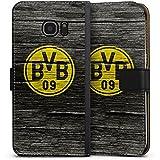 Samsung Galaxy S7 Edge Flip Tasche Schutz Hülle Walletcase Bookstyle Borussia Dortmund BVB Holzoptik