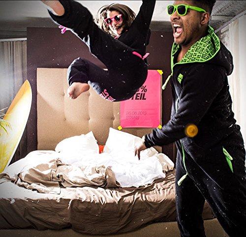 100%Steil Jumpsuit - gemütlicher Jumpsuit für Damen und Herren - extra weich für zuhause Pink