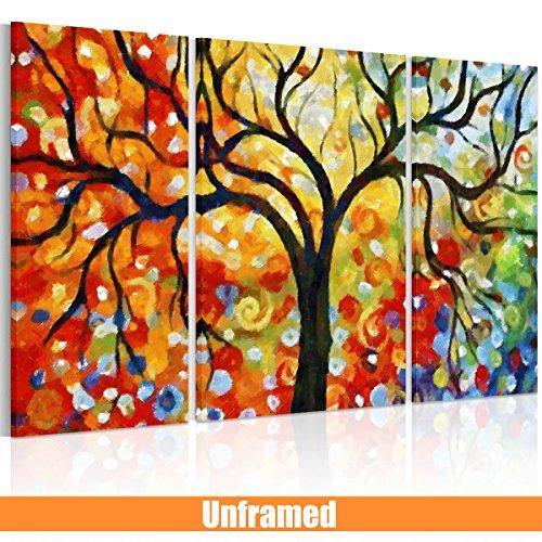 RAIN QUEEN bunter wünschender Baum HD Deko Leinwand Kunstdruck Poster Bild Wandbild Oil Painting Hand-Malerei Aquarell (kein Holz Rahmen) (bunt)