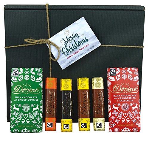 Divine Fairtrade Christmas Chocolate Bar Collection Hamper - Dark Cranberries & Hazelnut, Milk Spiced Cookies, Dark Caramel, Cappuccino, Orange, Caramel Milk - Includes Christmas Gift Box & Tag!