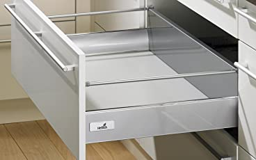 Hettich InnoTech Full Extension Double-walled Drawer System with Railing, 520X144mm (Silver)