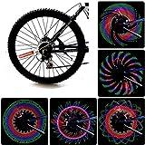GFEU Luces para llanta de bicicleta, ultra LED, brillantes, impermeables, con 32 LED y 21 patrones de cambio de neumáticos de bicicleta, con cuerda, coloridos accesorios para neumáticos de bicicleta