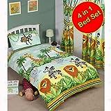 Pricerighthome Fantastischer Dschungel-4 in 1 Junior Bettwäsche Bundle (Bettdecke + Kissen + Cover)
