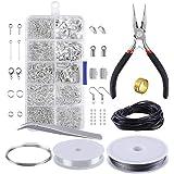 مجموعة ادوات صناعة المجوهرات والحلي من والميك للمبتدئين، من ادوات صناعة المجوهرات وكماشة للتصليح واسلاك ومجموعة من الخرز الفض
