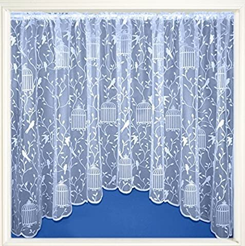 Bromley Readymade White Jardiniere Net Curtain Panel With Birds and Cages - 100 x 42 (Wire Tulle)
