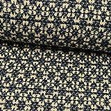Stoffe Werning Stretch Baumwoll Jacquard Muster blau-Natur Herbst- Winterstoffe- Preis Gilt für 0,5 Meter