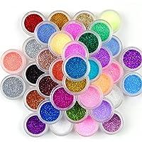 Decoración para uñas, maquillaje con purpurina en polvo, 45 colores