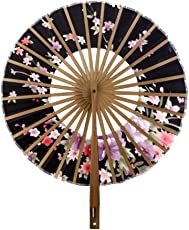 Generic Japanese Windmill Circle Round Hand Fan Sakura Floral Folding Fan Black