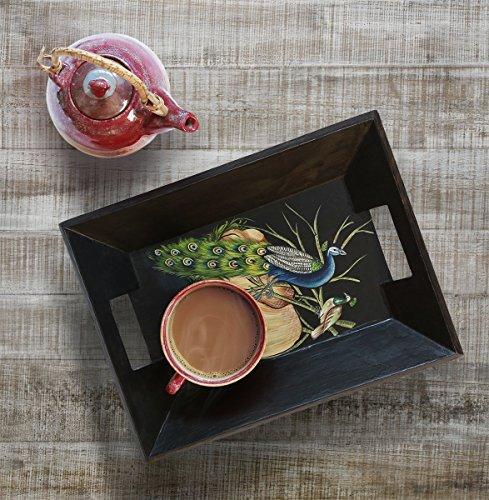 Store Indya, Peacock design in legno di stampa Vassoio con manici in grani Spuntino Dessert (Design Vassoio)