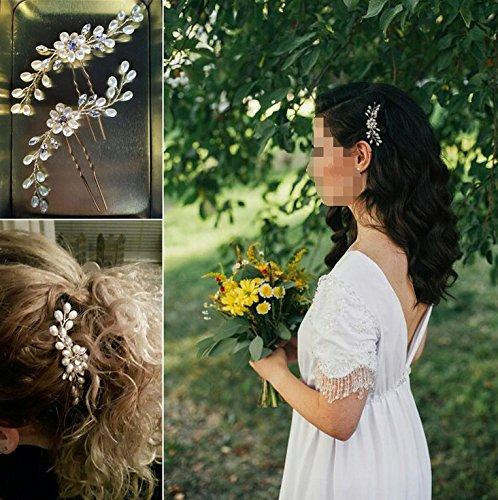 confronta il prezzo Musuntas, fermaglio per capelli alla moda, vintage, elegante, con perle e strass, gioielli per il matrimonio, accessori da sposa, accessori per capelli, 2 pezzi miglior prezzo