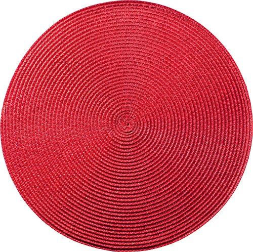 Tischset Platzset Rot Rund geflochten 35cm