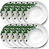 10er SET CreaTable - Napoli ITALIA - OLIVEN - Pastateller 30 cm aus Porzellan