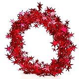 Deluxe Extra Lang Weihnachtsbaum Dekorationen Shiny Star Weihnachtsbaum Lametta Girlande Mit Embossing Dekoration für Weihnachtsbaum Weihnachten Ornaments Party Dekoration 5m (16.4ft), 5Stück rot