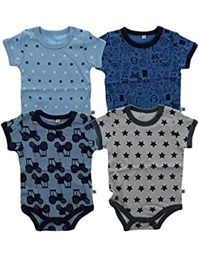 Pippi Unisex Baby Bluse Body SS AO-Printed (4-Pack)