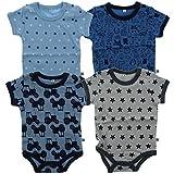 Pippi 4er Pack Baby Jungen Body mit Aufdruck, Kurzarm, Alter 12-18 Monate, Größe: 86, Farbe: Blau, 3820