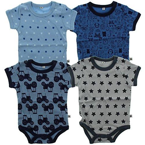 Pippi 3820725104 4er Pack Kinder Jungen Body mit Aufdruck, Kurzarm, Alter 3-4 Jahre, Größe: 104, blau (Drei Jahre Alten Jungen)