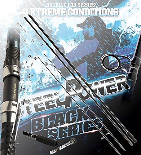 Preisvergleich Produktbild DAM Steelpower BLACK Surf Twin Tip,  4.50m,  up to 250g - Surfcasting Rute + gratis K-DON Gummifisch