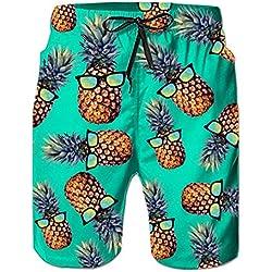 Loveternal Hombre Trajes de Baño Trunks de Natación 3D Print Pantalones Cortos de Playa de Piña Tie-Dye Pantalones Cortos de Cintura Elástica Blue L