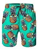 Loveternal Badeshorts Herren 3D Printed Ananas Beach Shorts Sommer Boardshorts mit Seitentaschen Blau L