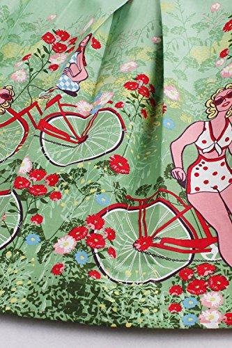 Babyonline® Vintage Faltenrock, Swing A-Linie Rock, Rockabilly Knielang Fahrrad