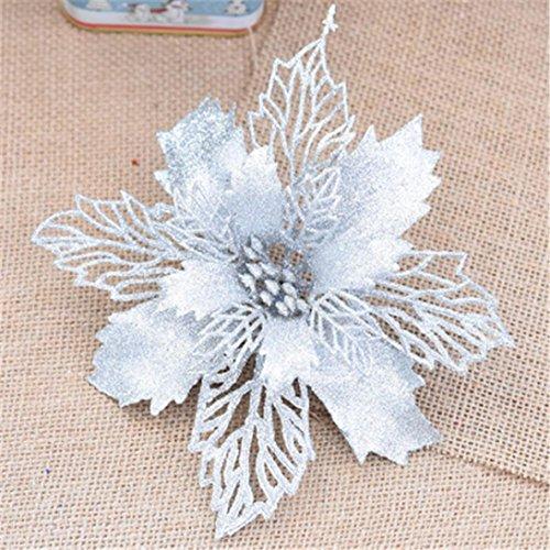 Schwarze Holz-plattform-bett (sunnymi Weihnachtsbaum Ornament Bowknot Supplie,10CM Blumen-Simulation Anhänger,Weihnachten schöne künstliche dekorative Künstliche Blumen (10CM, Silber))