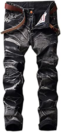 Men's Distressed Destroyed Slim Fit Zipper Ripped Biker Jeans Moto Denim Pants