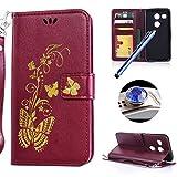 Etsue Leder Brieftasche Hülle für LG Nexus 5X Schmetterling Muster