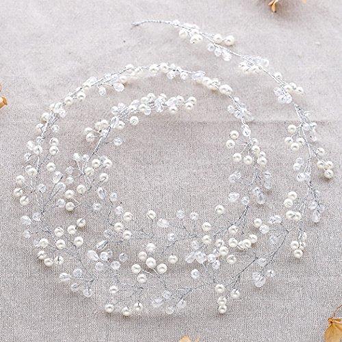 Catena testa Aukmla per sposa -Accessori matrimonio con strass di cristallo per donne e ragazze (colore argento) - 2