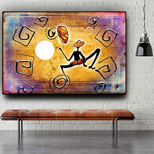 sanzangtang Goldene Abstrakte Afrikanische Charakter Tanz Geometrische Ölgemälde Leinwand Poster und Drucke Wohnzimmer Wandbild Rahmenlose 40x60 cm
