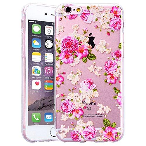 HB-Int Handytasche für iPhone 6 / 6S Silikon Back Hülle Transparent Schutzhülle 3D Eule Blumen Muster mit Lanyard Loch Flexible Case TPU Bumper Protective Shell Blumen