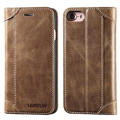 Hülle iPhone 7 Handyhülle iPhone 8 Lensun iPhone 7 Tasche iPhone 8 Flip Case Ledertasche mit Magnetverschluss Kartenfächern Standfunktion Lederhülle Huelle Schutzhülle – Kaffee (7G-DX-CE)