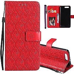 COTDINFOR Huawei Honor 9 Funda Ratán Patrón de impresión Suave PU Cuero Flip Cuero Billetera Estuche con Tarjeta Cárcasa Delgado Caso Cover Protectora para Huawei Honor 9 Red Rattan KT.