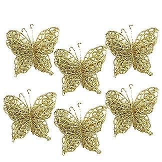 Lenfesh 6 Piezas Mariposa Adorno de Navidad,Decoracion de Mariposa,decoración de árbol,Dorado