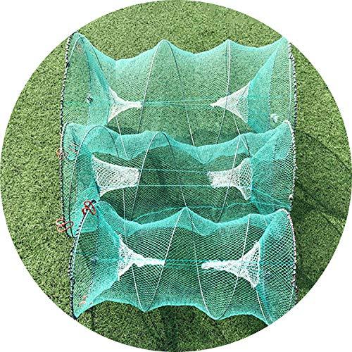 SUGA93 Faltbare Crab Trap Cages Casting Net Grün Retractable Frühling Crab Käfige Fisch Kescher Landung Fischernetz Kleine Mesh, 33cm 60cm (Fisch Schalen Bulk)