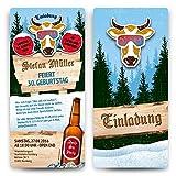 Einladungskarten zum Geburtstag (60 Stück) Après-Ski Motiv - Ticket mit Abriss