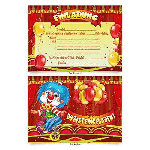 Einladungskarten (8 Stück) zum Ausfüllen für Kindergeburtstag -