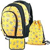 YeepSport Schul Ranzen Schulrucksack Set Junge Mädchen Feder Mäppchen Turnbeutel S113dx-T2c 22319 Yellow Smile